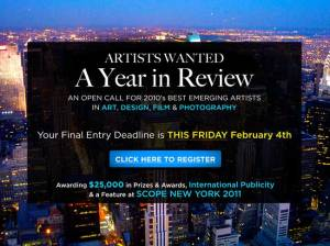 Artists Wanted: A Year In Review, Awarding a Feature Exhibition at SCOPE New York – DEADLINE EXTENDED to FRIDAY February 4th